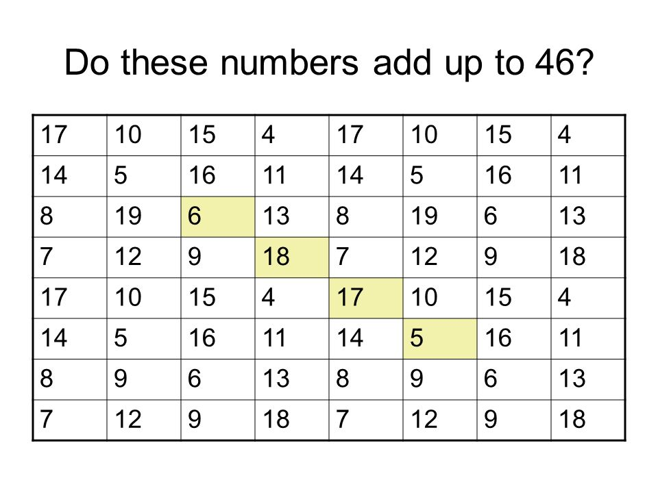 Do these numbers add up to 46.