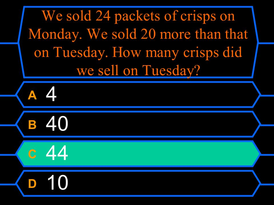We sold 24 packets of crisps on Monday. We sold 20 more than that on Tuesday.