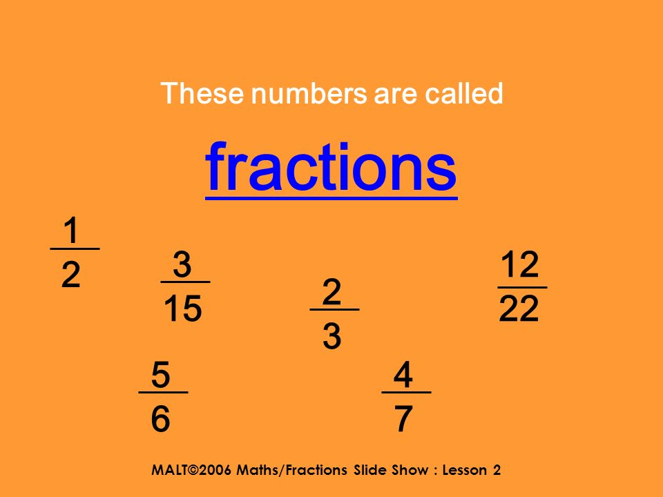 MALT©2006 Maths/Fractions Slide Show : Lesson 2 Fractions Lesson 2 Understanding mixed numbers and improper fractions