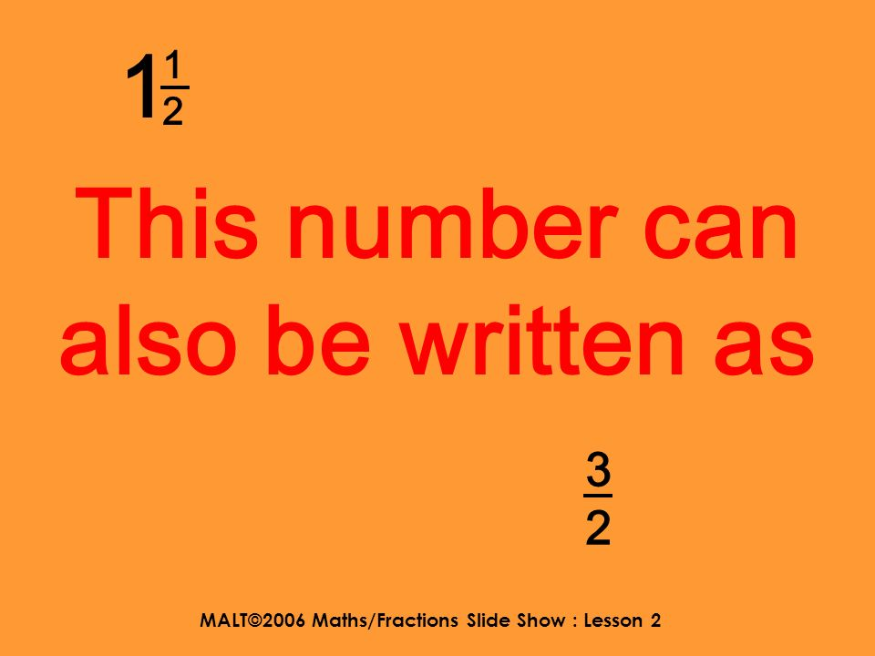 MALT©2006 Maths/Fractions Slide Show : Lesson 2 Improper fractions can be written as mixed numbers.