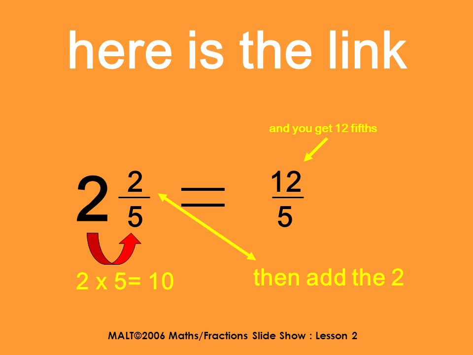 MALT©2006 Maths/Fractions Slide Show : Lesson 2 here is the link 5 1313 16 3 5 x 3 = 15 then add the 1 and you get 16 thirds