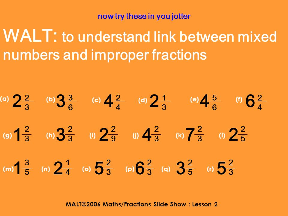 MALT©2006 Maths/Fractions Slide Show : Lesson 2 here is the link 4 5656 29 6 4 x 6 = 24 then add the 5 and you get 29 sixths