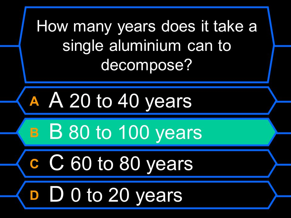 How many years does it take a single aluminium can to decompose? A A 20 to 40 years B B 80 to 100 years C C 60 to 80 years D D 0 to 20 years