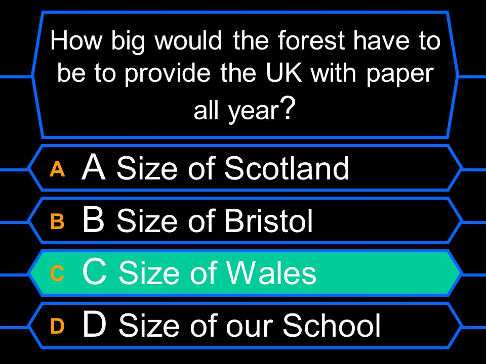 How big would the forest have to be to provide the UK with paper all year ? A A Size of Scotland B B Size of Bristol C C Size of Wales D D Size of our