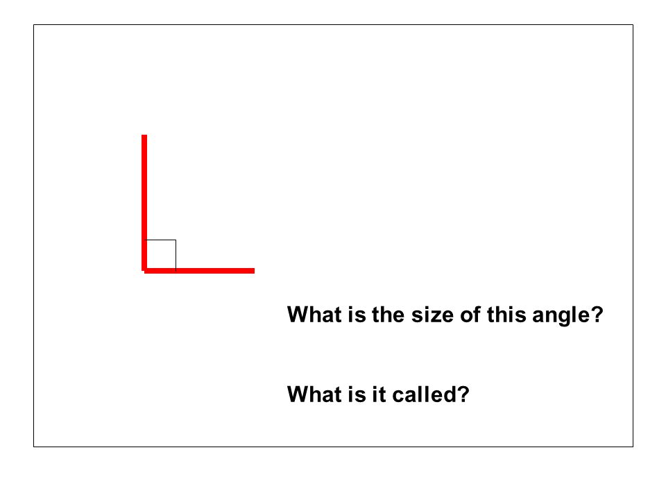 What is the size of this angle? What is it called?
