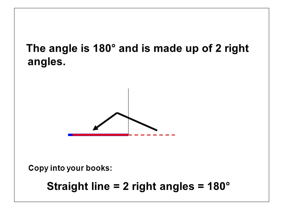 The angle is 180° and is made up of 2 right angles. Copy into your books: Straight line = 2 right angles = 180°