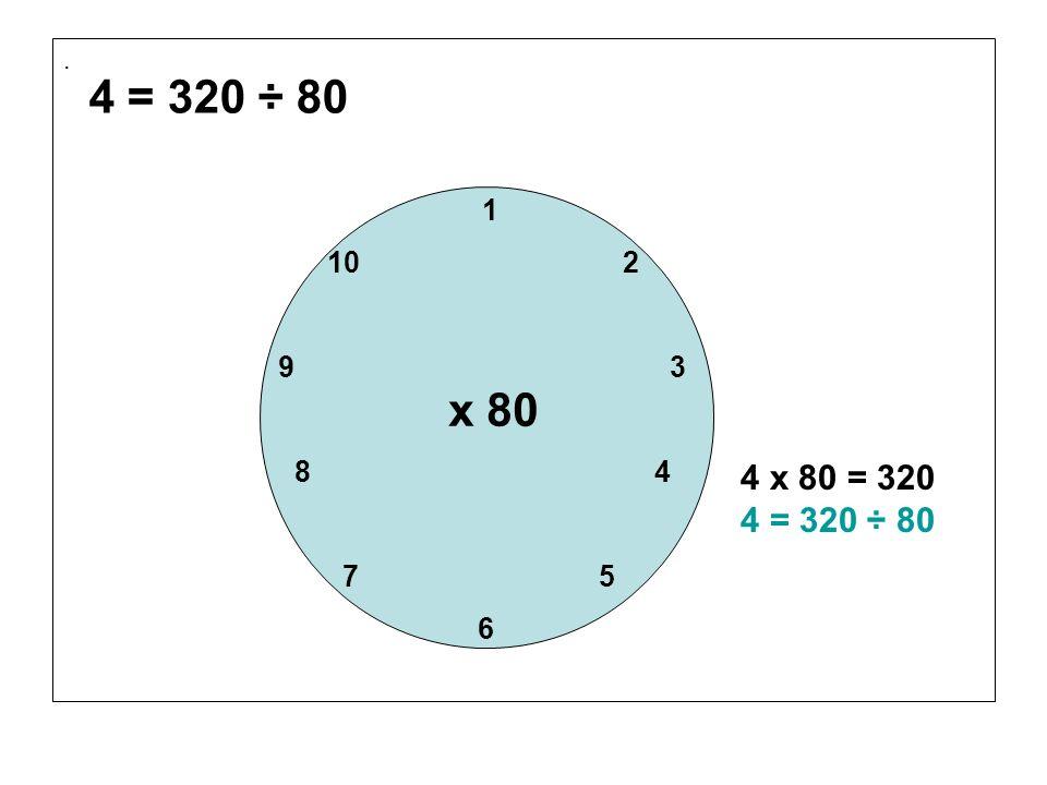 . 1 10 2 9 3 8 4 7 5 6 x 80 4 x 80 = 320 4 = 320 ÷ 80 4 = 320 ÷ 80