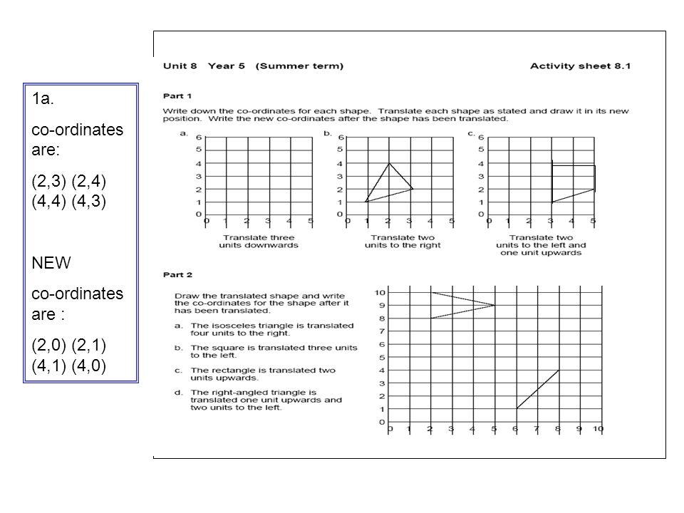 . 1a. co-ordinates are: (2,3) (2,4) (4,4) (4,3) NEW co-ordinates are : (2,0) (2,1) (4,1) (4,0)