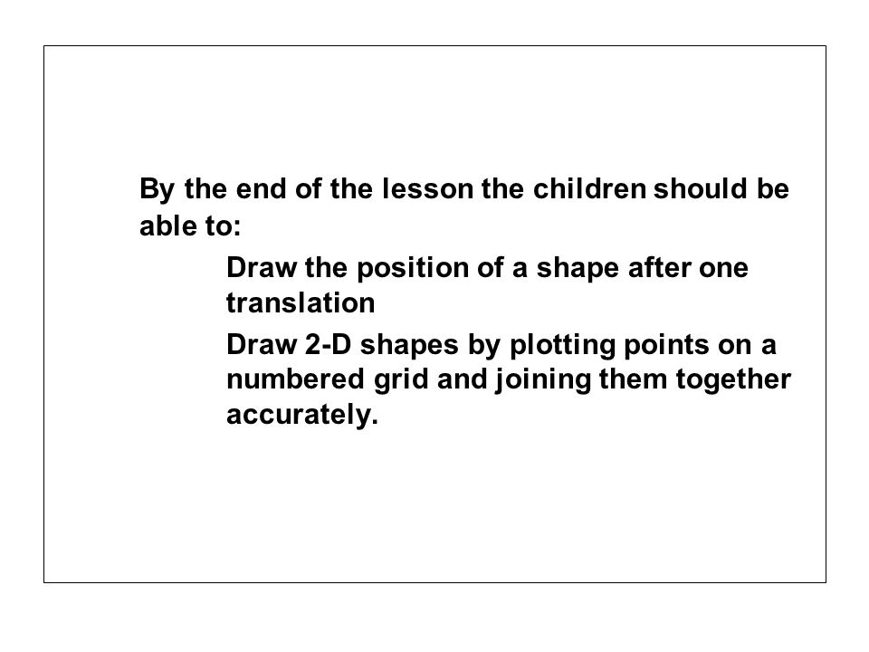 By the end of the lesson the children should be able to: Draw the position of a shape after one translation Draw 2-D shapes by plotting points on a nu