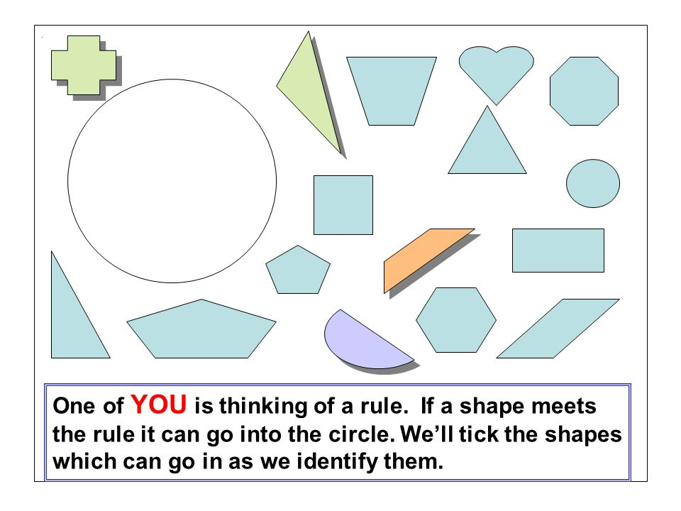 . One of YOU is thinking of a rule. If a shape meets the rule it can go into the circle. Well tick the shapes which can go in as we identify them.