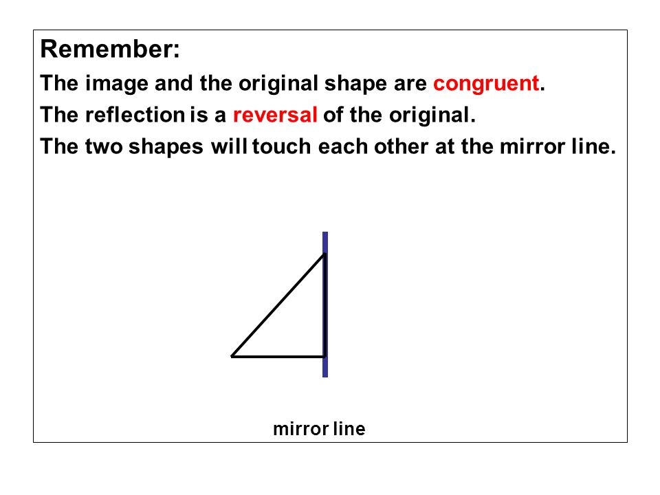 Remember: The image and the original shape are congruent. The reflection is a reversal of the original. The two shapes will touch each other at the mi
