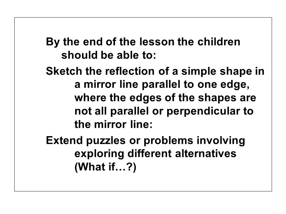 By the end of the lesson the children should be able to: Sketch the reflection of a simple shape in a mirror line parallel to one edge, where the edge