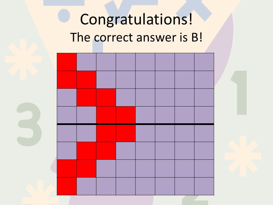 Congratulations! The correct answer is B!