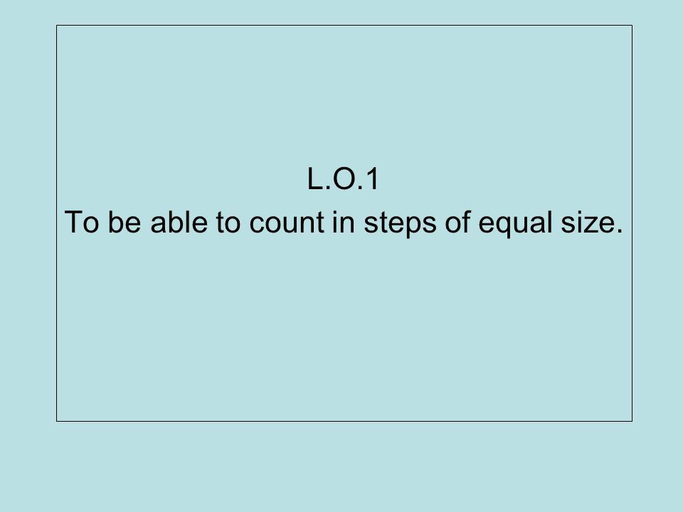 L.O.2 To be able to use all four operations to solve simple problems involving numbers and quantities.