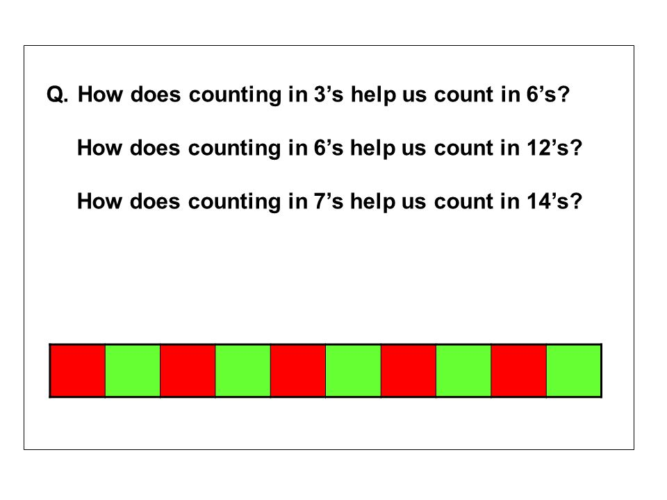 Q. How does counting in 3s help us count in 6s? How does counting in 6s help us count in 12s? How does counting in 7s help us count in 14s?