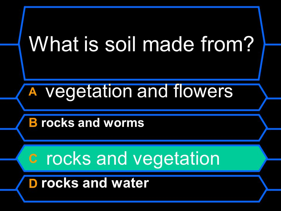 What is soil made from? A vegetation and flowers B rocks and worms C rocks and vegetation D rocks and water