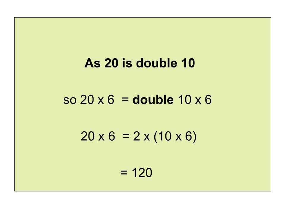As 20 is double 10 so 20 x 6 = double 10 x 6 20 x 6 = 2 x (10 x 6) = 120