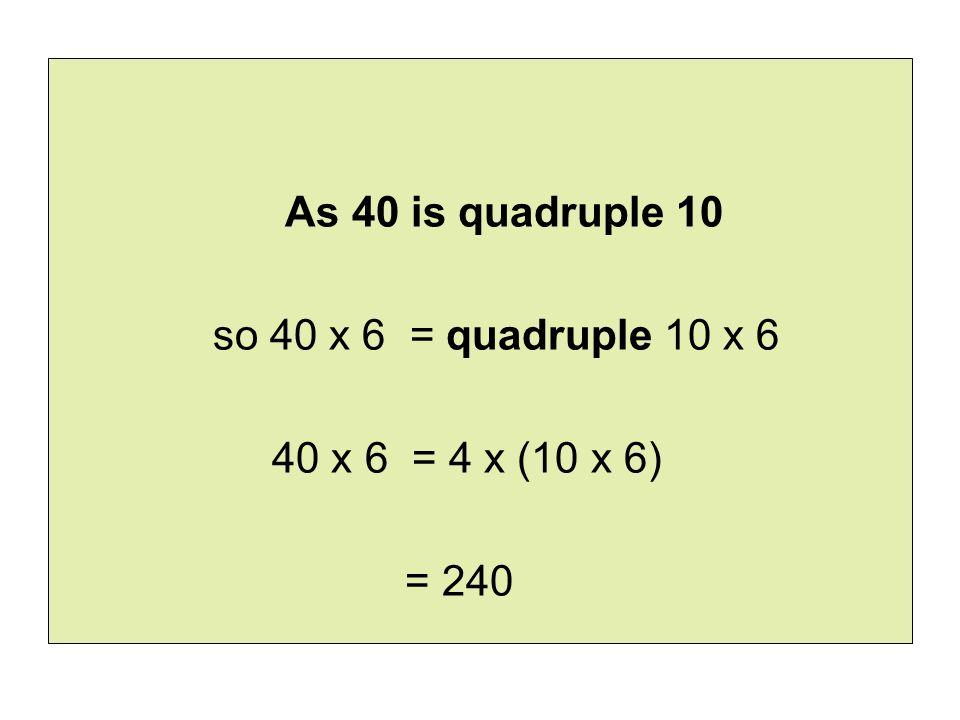 As 40 is quadruple 10 so 40 x 6 = quadruple 10 x 6 40 x 6 = 4 x (10 x 6) = 240