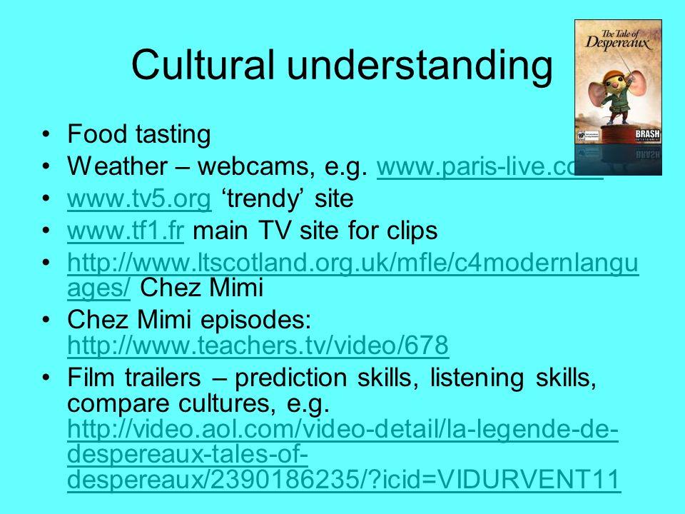 Cultural understanding Food tasting Weather – webcams, e.g. www.paris-live.comwww.paris-live.com www.tv5.org trendy sitewww.tv5.org www.tf1.fr main TV