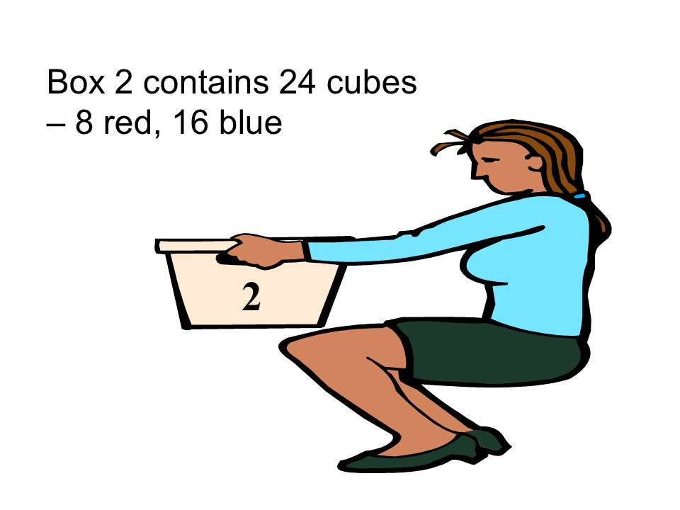 Box 2 contains 24 cubes – 8 red, 16 blue 2