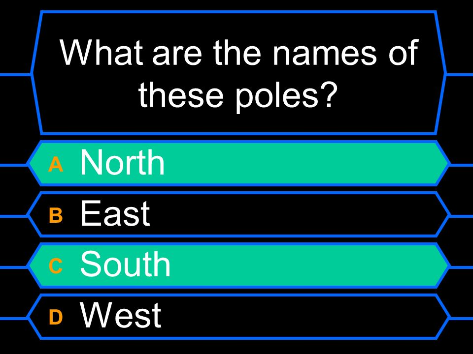 What are the names of these poles? A North B East C South D West