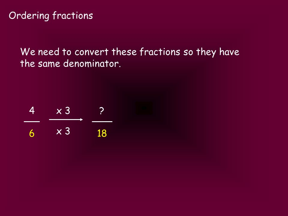 Ordering fractions 4 6 We need to convert these fractions so they have the same denominator. ? 18 x 3
