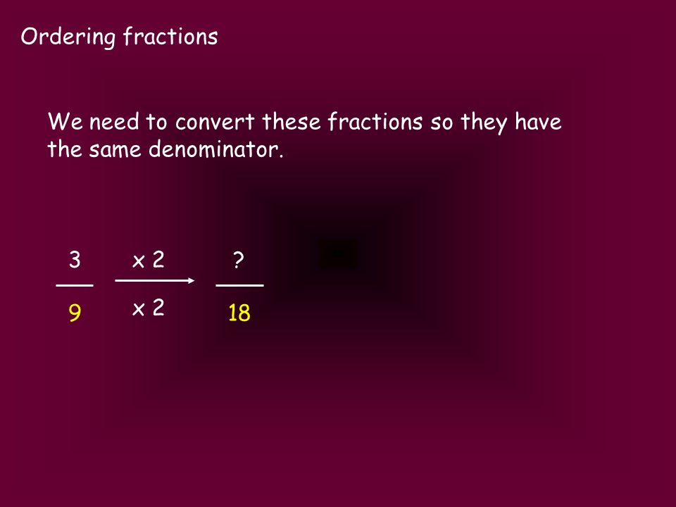 Ordering fractions 3 9 We need to convert these fractions so they have the same denominator. ? 18 x 2