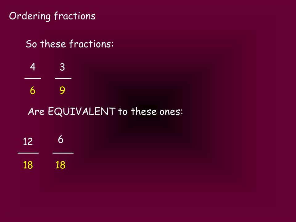 Ordering fractions 4343 6969 So these fractions: Are EQUIVALENT to these ones: 6 18 12 18