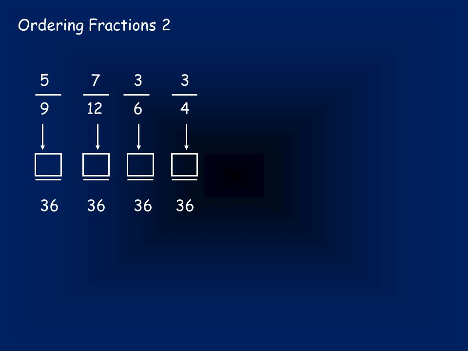 Ordering Fractions 2 5 733 91264 3636 36 36