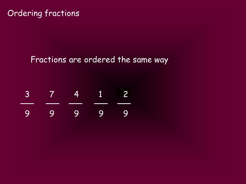 Ordering fractions Fractions are ordered the same way 3741237412 9999999999