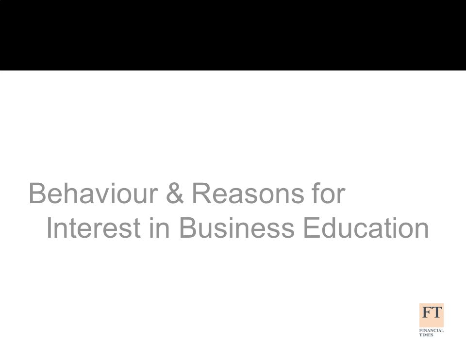 Behaviour & Reasons for Interest in Business Education