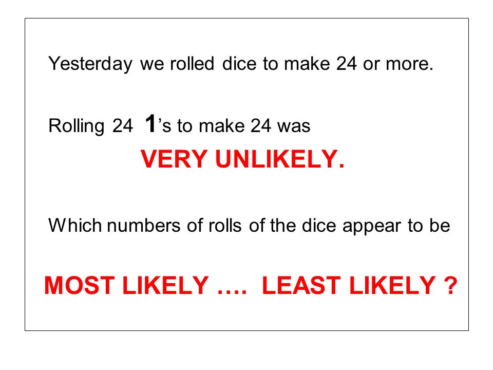 Yesterday we rolled dice to make 24 or more. Rolling 24 1 s to make 24 was VERY UNLIKELY. Which numbers of rolls of the dice appear to be MOST LIKELY