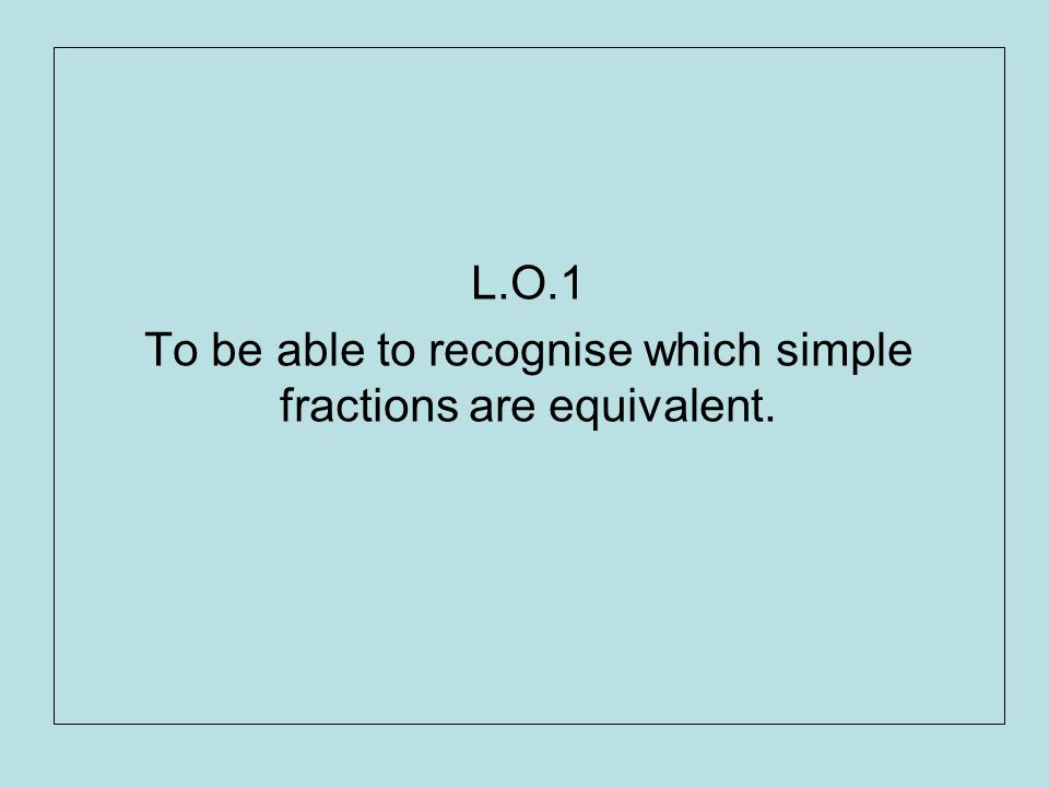 L.O.1 To be able to recognise which simple fractions are equivalent.