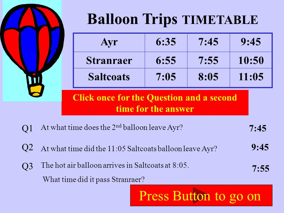 Zog Express Timetable Planet Zog1:343:188:22 Mars5:357:191:24 Earth5:457:251:29 Click once for the Question and a second time for the answer Q1 Q2 Q3