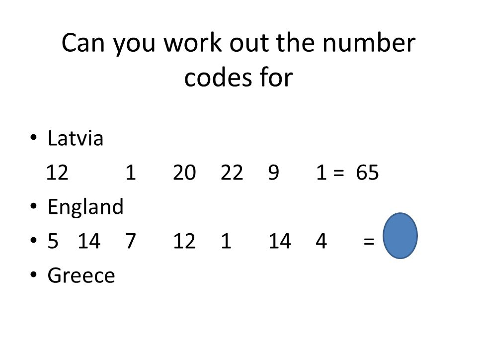Can you work out the number codes for Latvia 12 1202291 = 65 England 5147121144= 57 Greece