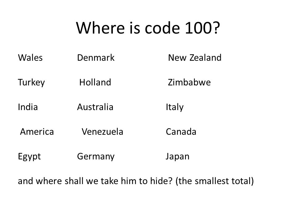 Where is code 100? Wales Denmark New Zealand Turkey Holland Zimbabwe IndiaAustralia Italy America VenezuelaCanada EgyptGermanyJapan and where shall we