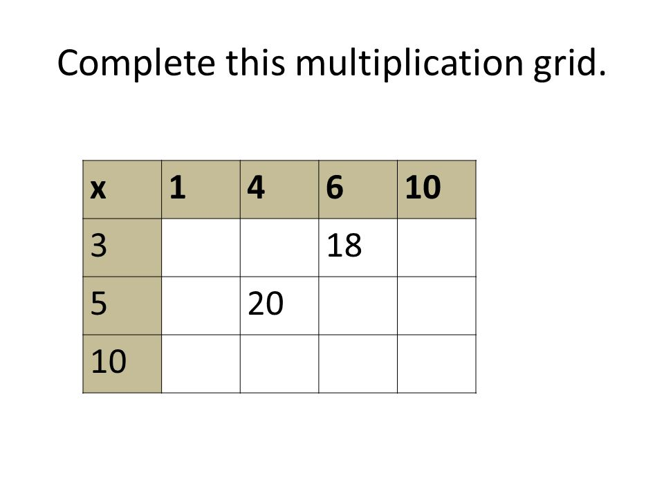 Complete this multiplication grid. x14610 318 520 10