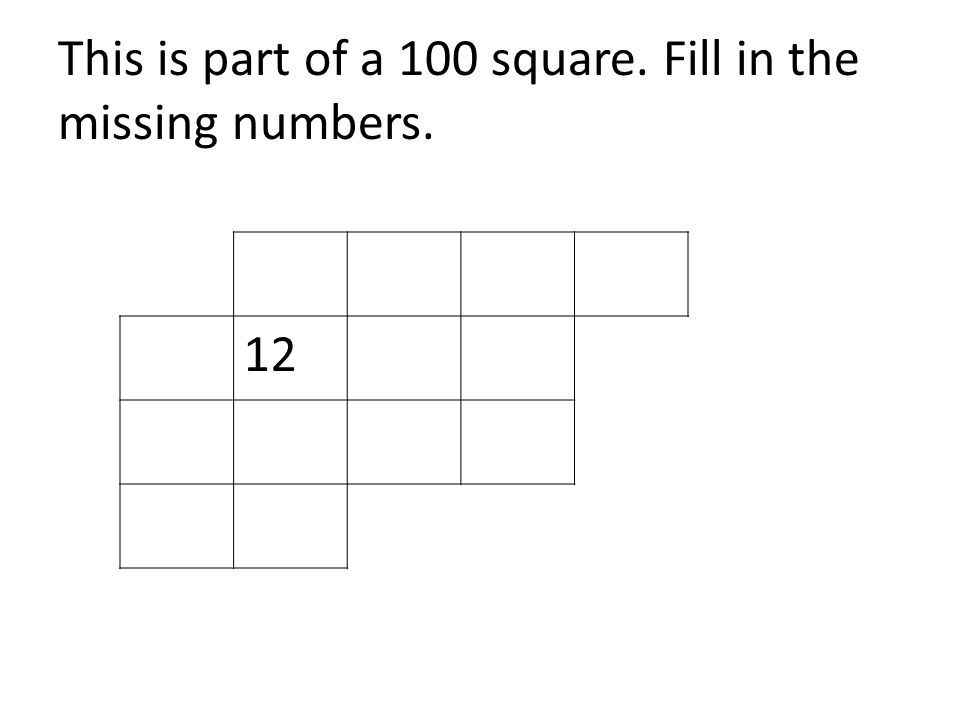 This is part of a 100 square. Fill in the missing numbers. 12