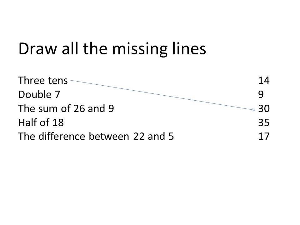 Draw all the missing lines Three tens14 Double 79 The sum of 26 and 930 Half of 1835 The difference between 22 and 517