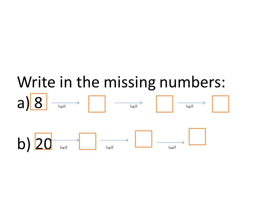 Write in the missing numbers: a) 8 half half half b) 20 half half half