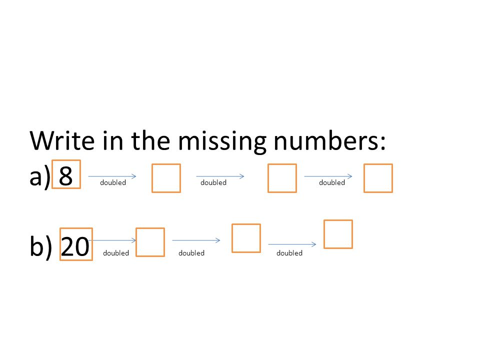 Write in the missing numbers: a) 8 doubled doubled doubled b) 20 doubled doubled doubled