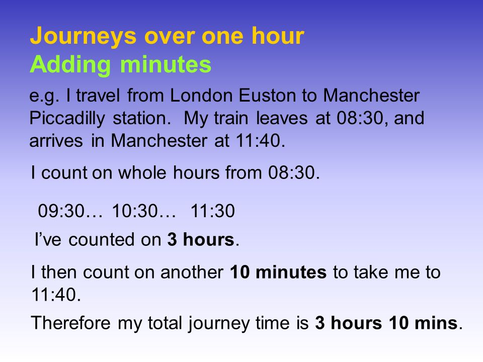 Journeys over one hour Adding minutes e.g. I travel from London Euston to Manchester Piccadilly station. My train leaves at 08:30, and arrives in Manc