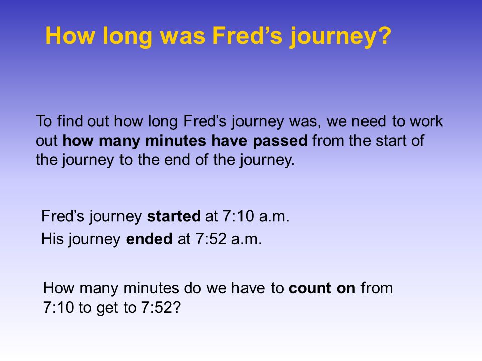 How long was Freds journey? To find out how long Freds journey was, we need to work out how many minutes have passed from the start of the journey to