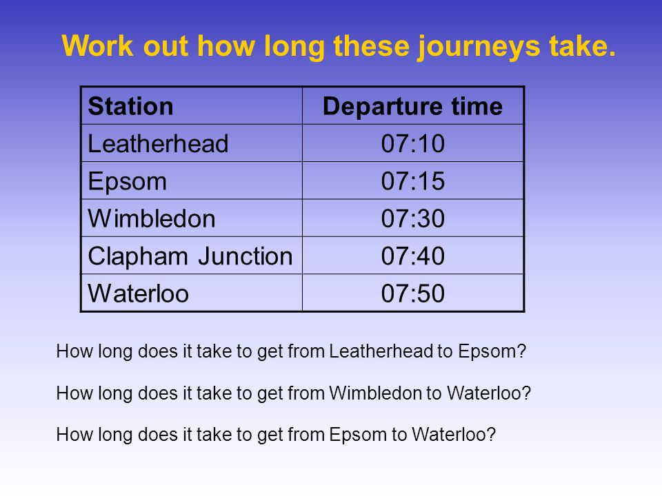 Work out how long these journeys take. StationDeparture time Leatherhead07:10 Epsom07:15 Wimbledon07:30 Clapham Junction07:40 Waterloo07:50 How long d