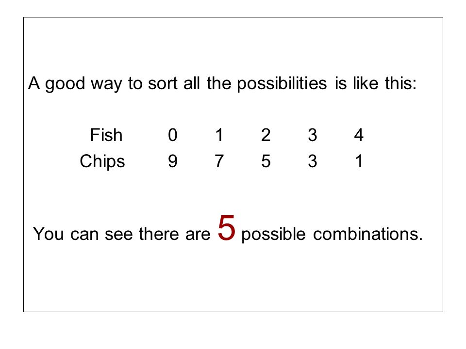 A good way to sort all the possibilities is like this: Fish01234 Chips97531 You can see there are 5 possible combinations.