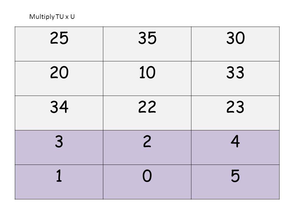 253530 201033 342223 324 105 Multiply TU x U