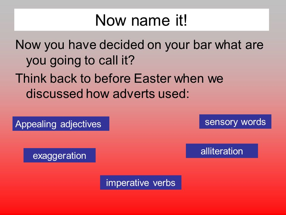 Now name it. Now you have decided on your bar what are you going to call it.