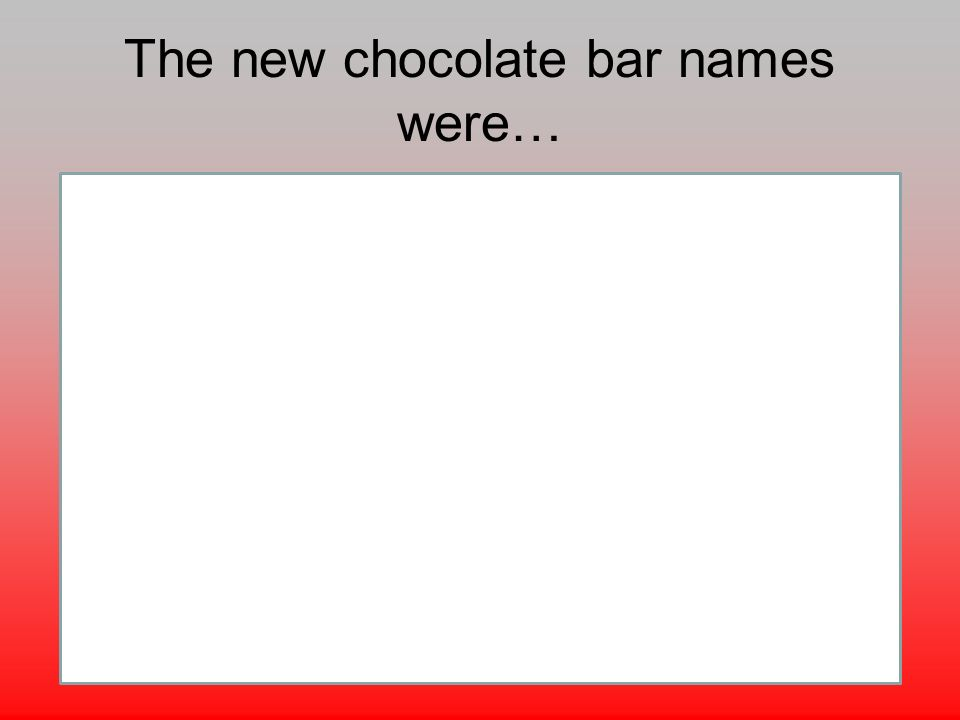 The new chocolate bar names were…