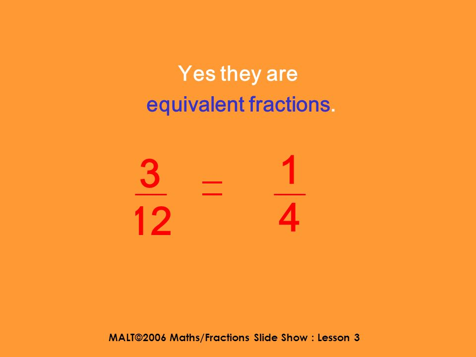 MALT©2006 Maths/Fractions Slide Show : Lesson 3 Are they equivalent fractions? 1414 3 12
