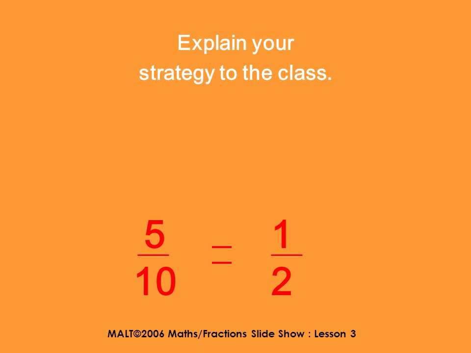 MALT©2006 Maths/Fractions Slide Show : Lesson 3 What ideas have you come up with? 1 2 5 10